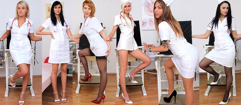Hot babes wear uniform sexy stockings and high heels